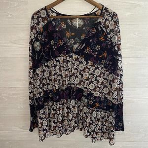 FREE PEOPLE Navy Blue White Floral Sheer Oversized Flowy Blouse - Small